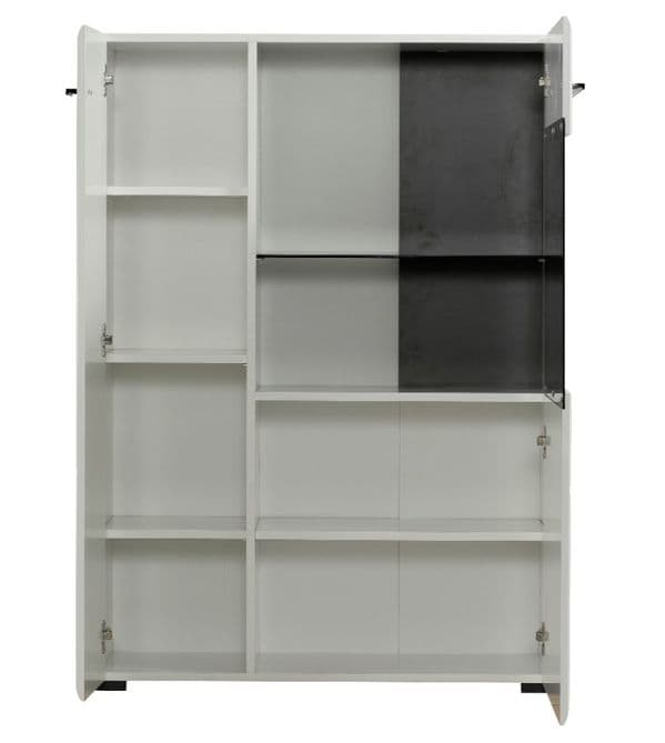 Trinity Short Low Display Cabinet In White Gloss with Black